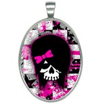 Scene Kid Girl Skull Oval Necklace