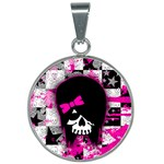 Scene Kid Girl Skull 25mm Round Necklace