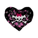 Scene Skull Splatter Standard 16  Premium Flano Heart Shape Cushion