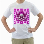 Skull Princess Men s T-Shirt (White) (Two Sided)