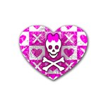 Skull Princess Rubber Heart Coaster (4 pack)