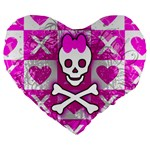 Skull Princess Large 19  Premium Heart Shape Cushion