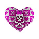 Skull Princess Standard 16  Premium Flano Heart Shape Cushion