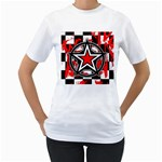 Star Checkerboard Splatter Women s T-Shirt (White) (Two Sided)