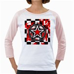 Star Checkerboard Splatter Girly Raglan