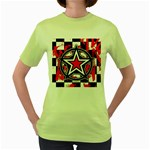 Star Checkerboard Splatter Women s Green T-Shirt
