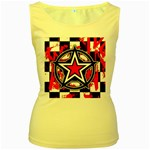 Star Checkerboard Splatter Women s Yellow Tank Top