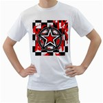 Star Checkerboard Splatter Men s T-Shirt (White) (Two Sided)