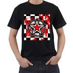 Star Checkerboard Splatter Men s T-Shirt (Black) (Two Sided)