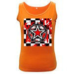 Star Checkerboard Splatter Women s Dark Tank Top