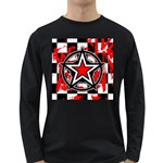 Star Checkerboard Splatter Long Sleeve Dark T-Shirt