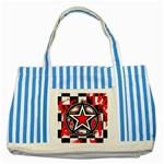Star Checkerboard Splatter Striped Blue Tote Bag