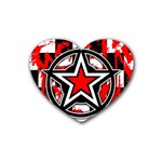 Star Checkerboard Splatter Rubber Heart Coaster (4 pack)