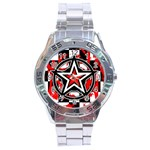 Star Checkerboard Splatter Stainless Steel Analogue Watch