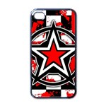 Star Checkerboard Splatter iPhone 4 Case (Black)