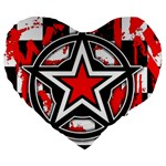 Star Checkerboard Splatter Large 19  Premium Heart Shape Cushion