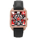 Star Checkerboard Splatter Rose Gold Leather Watch
