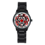 Star Checkerboard Splatter Stainless Steel Round Watch