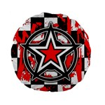 Star Checkerboard Splatter Standard 15  Premium Flano Round Cushion