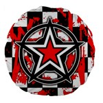 Star Checkerboard Splatter Large 18  Premium Flano Round Cushion
