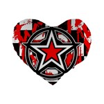Star Checkerboard Splatter Standard 16  Premium Flano Heart Shape Cushion