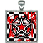 Star Checkerboard Splatter Square Necklace