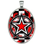 Star Checkerboard Splatter Oval Necklace