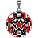 Star Checkerboard Splatter 30mm Round Necklace