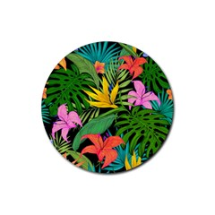 Tropical Greens Rubber Coaster (round)  by Sobalvarro