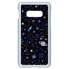Starry Night  Space Constellations  Stars  Galaxy  Universe Graphic  Illustration Samsung Galaxy S10e Seamless Case (white) by Vaneshart