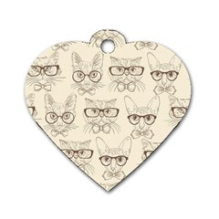 Seamless Pattern Hand Drawn Cats With Hipster Accessories Dog Tag Heart (two Sides)
