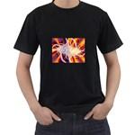 Woodstock Trip Orange Blue Fractal Black T-Shirt
