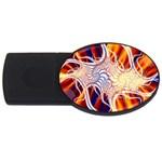 Woodstock Trip Orange Blue Fractal USB Flash Drive Oval (4 GB)