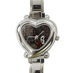 Goth Skull and Blood in Dungeon Heart Italian Charm Watch