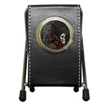 Goth Skull and Blood in Dungeon Pen Holder Desk Clock
