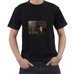 Goth Skull and Blood in Dungeon Black T-Shirt
