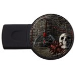 Goth Skull and Blood in Dungeon USB Flash Drive Round (4 GB)