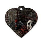 Goth Skull and Blood in Dungeon Dog Tag Heart (Two Sides)
