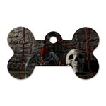 Goth Skull and Blood in Dungeon Dog Tag Bone (Two Sides)