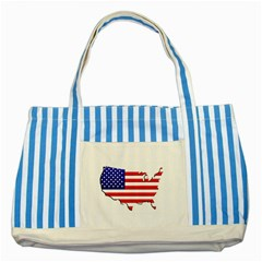 American Map Flag Striped Blue Tote Bag from UrbanLoad.com Front