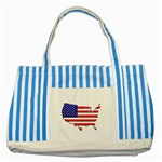 American Map Flag Striped Blue Tote Bag