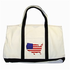 American Map Flag Two Tone Tote Bag from UrbanLoad.com Front