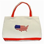 American Map Flag Classic Tote Bag (Red)