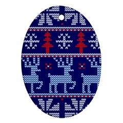 Knitted Christmas Pattern Oval Ornament (two Sides)