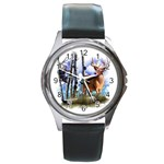 Deer Hunter Round Metal Watch