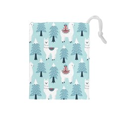 Christmas Tree Cute Lama With Gift Boxes Seamless Pattern Drawstring Pouch (medium) by Vaneshart