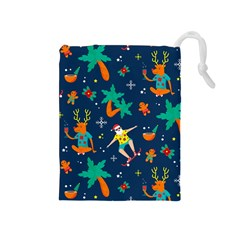 Colorful Funny Christmas Pattern Drawstring Pouch (medium) by Vaneshart