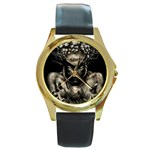 Zombie Walking Dead Earth Woman Round Gold Metal Watch