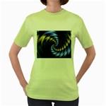 Blue Spin into Dizziness Fantasy Fractal Women s Green T-Shirt