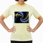 Blue Spin into Dizziness Fantasy Fractal Women s Fitted Ringer T-Shirt